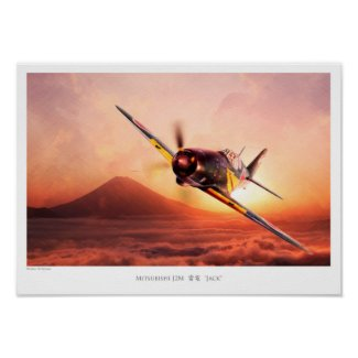 "Aviation Art Poster ""Mitsubishi J2M thunder and"