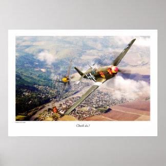 "Aviation Art Poster ""P51-B Mustang """