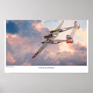 """Aviation Art Poster """"P-38 Lightning """""""
