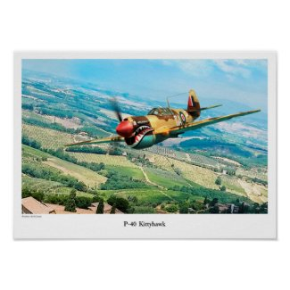 "Aviation Art Poster ""P-40 Kittyhawk """