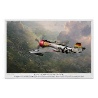 "Aviation Art Poster ""P-47D Thunderbolt ""Saucy Sus"""