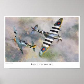 "Aviation art Poster ""Spitfire vs BF109"""