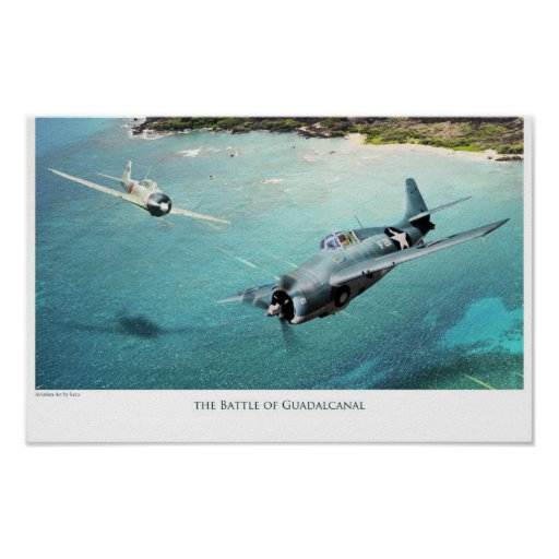 "aviation Art Poster ""The Battle of Guadalcanal"""