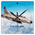 """Aviation Art Wall Clock """" F-100 Super Sabre """""""