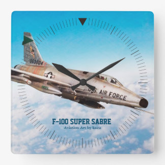 "Aviation Art Wall Clock "" F-100 Super Sabre """