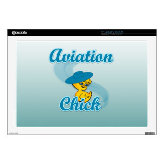 "Aviation Chick 3 Decal For 17"" Laptop"
