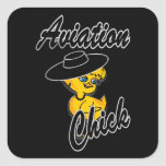 Aviation Chick #4 Square Stickers