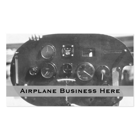 Aviation Retro Black and White Control Panel Business Cards