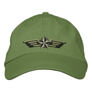 Aviation Embroidered Star Badge Pilot Wings Cap