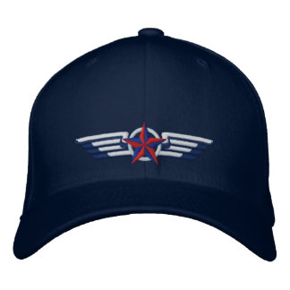 Aviation Embroidered Star Badge Pilot Wings Embroidered Baseball Cap