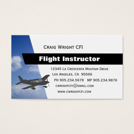 Aviation flight instructor business card zazzlecom for Www aviationbusinesscards com