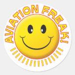Aviation Freak Smile Classic Round Sticker