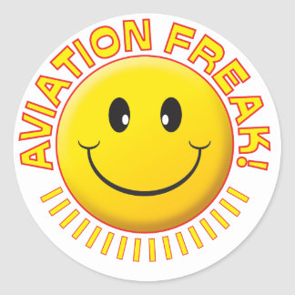 Aviation Freak Smile Classic Round Sticker