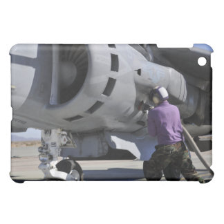 Aviation fuel technician attaches a fuel line iPad mini cases