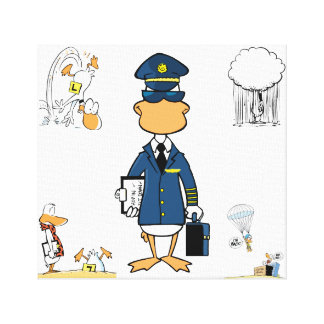 Aviation Humour Cartoon Duck Canvas Gallery Wrapped Canvas