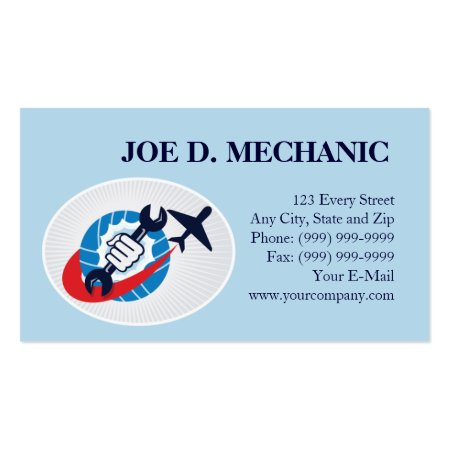 Plane and Spanner Aviation Mechanical Repair Aircraft Maintenance Business Cards