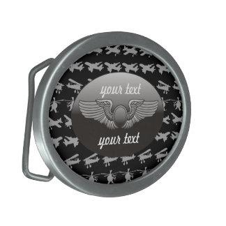 Aviation Personalized Oval Belt Buckle