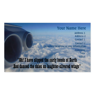 Aviation Poem for Aviator Airline Crew Business Card