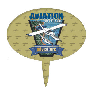 Aviation Seaplane Adventure Cake Topper