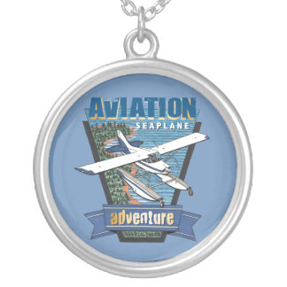 Aviation Seaplane Adventure Silver Plated Necklace