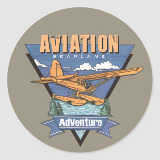 Aviation Seaplane Adventure Round Stickers