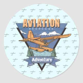 Aviation Seaplane Adventure Round Sticker