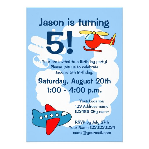 Aviation theme Birthday party invitations for kids
