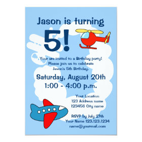 Aviation theme Birthday party invitations for kids 5