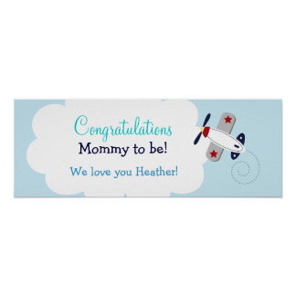 Aviator Airplane Custom Baby Shower Banner Print