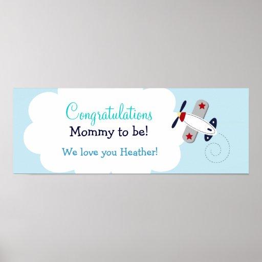 Aviator Airplane Custom Baby Shower Banner Print