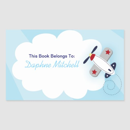 Aviator Airplane Custom Book Plate Sticker