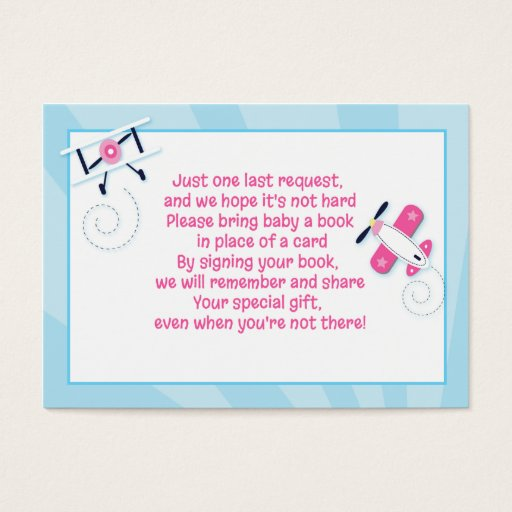 Aviator Airplane Girl Enclosure Book Request Cards