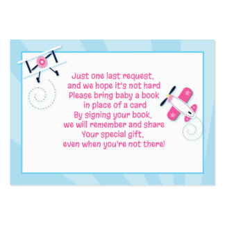 Aviator Airplane Girl Enclosure Book Request Cards Large Business Cards (Pack Of 100)