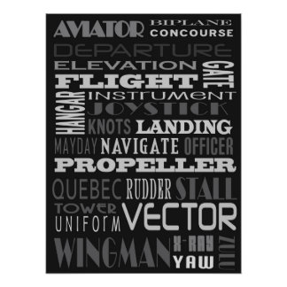 Aviator Alphabet Subway Art Poster