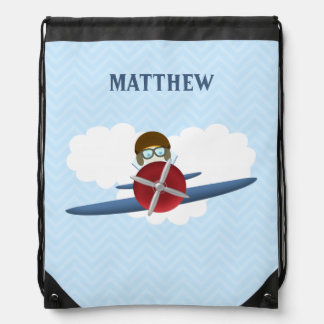 Aviator and His Plane Drawstring Backpack