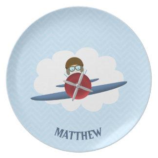 Aviator and His Plane Melamine Plate