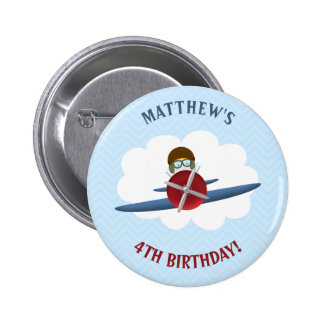 Aviator and His Plane Pinback Button