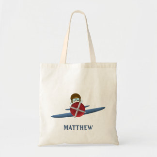 Aviator and His Plane Tote Bag