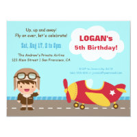 Airplane birthday invitations announcements zazzle aviator boy airplane birthday party invitations filmwisefo