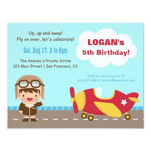 Aviator Boy Airplane Birthday Party Invitations