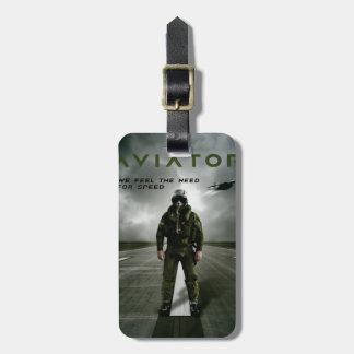 Aviator Fighter Pilot Luggage Tag