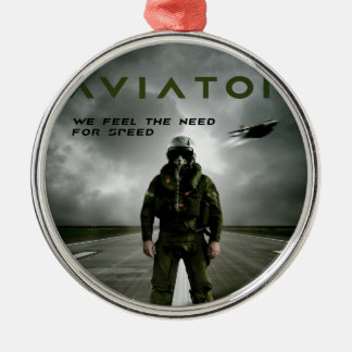 Aviator Fighter Pilot Metal Ornament