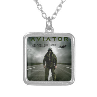 Aviator Fighter Pilot Silver Plated Necklace