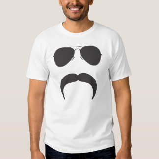 Aviator Mustache silhouette Tee Shirts