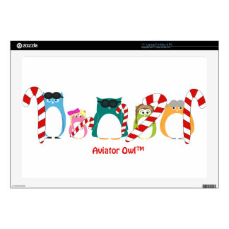 Aviator Owl™ Candy Canes Laptop Decals