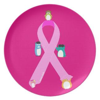 Aviator Owls Pink Ribbon Dinner Plate