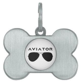Aviator SUnglasses Silhouette Pet ID Tag