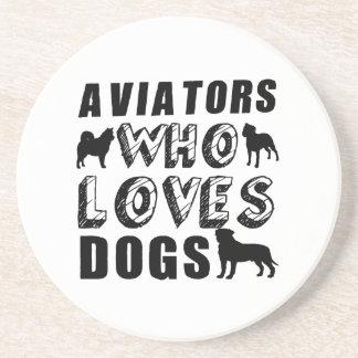 aviators Who Loves Dogs Coaster