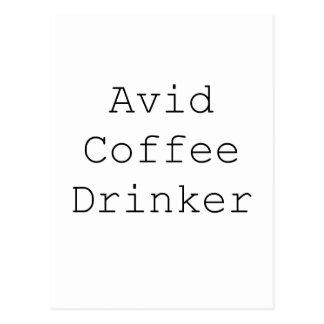 Avid Coffee Drinker Black Blue Red Postcard