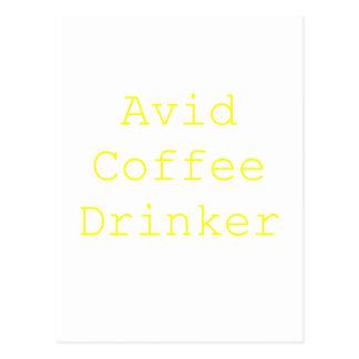 Avid Coffee Drinker Yellow Green Pink Postcard